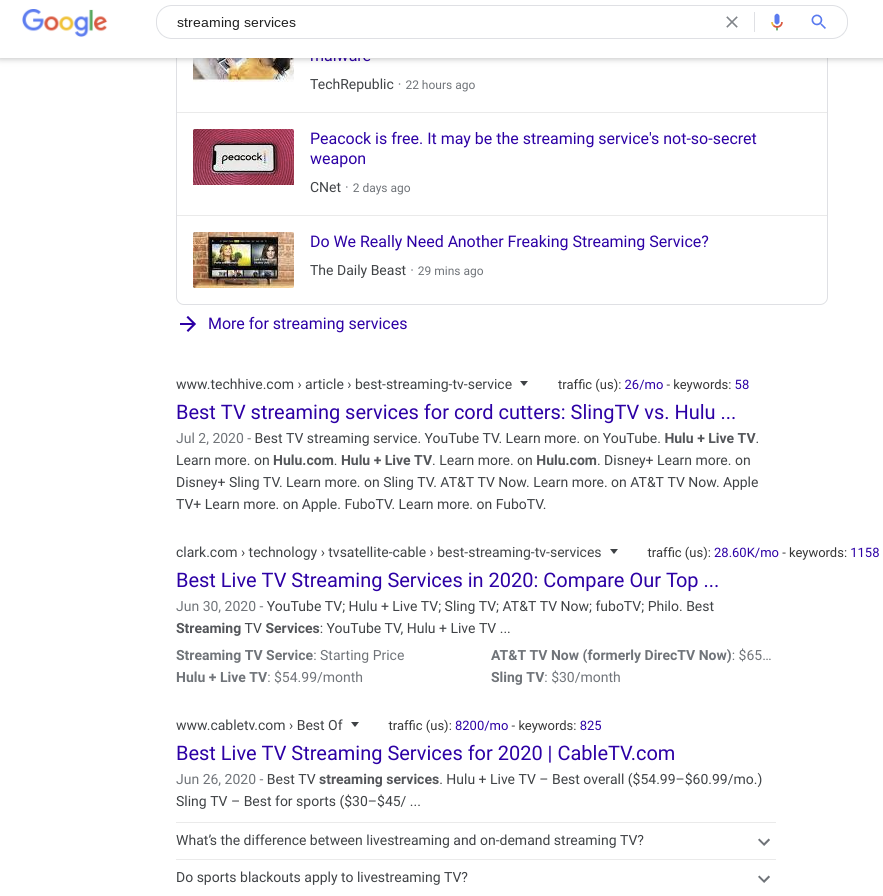 Search for streaming services organic results